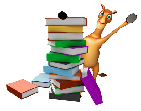 zoo dry: 3d rendered illustration of Camel cartoon character with book stack