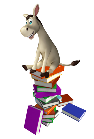 cuteness: 3d rendered illustration of Donkey cartoon character  with book stack Stock Photo