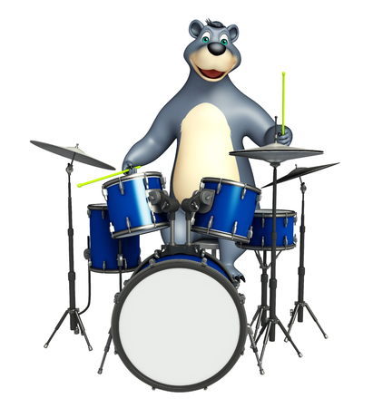 plushy: 3d rendered illustration of Bear cartoon character with drum