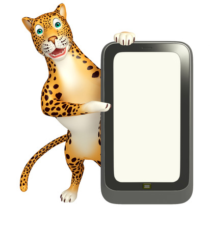 veg: 3d rendered illustration of Leopard cartoon character with mobile Stock Photo