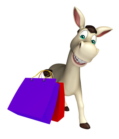 cuteness: 3d rendered illustration of Donkey cartoon character with shopping bag Stock Photo