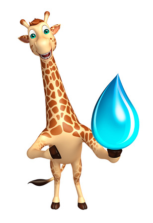tall grass: 3d rendered illustration of Giraffe cartoon character with water drop