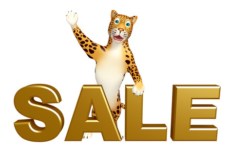 veg: 3d rendered illustration of Leopard cartoon character with sale sign
