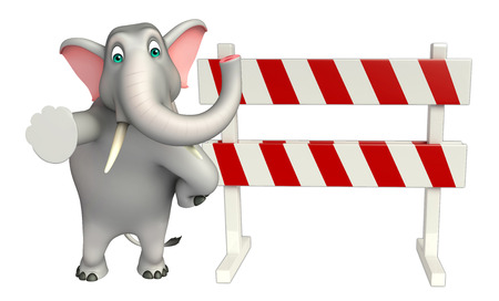 constuction: 3d rendered illustration of Elephant cartoon character with  baracades Stock Photo