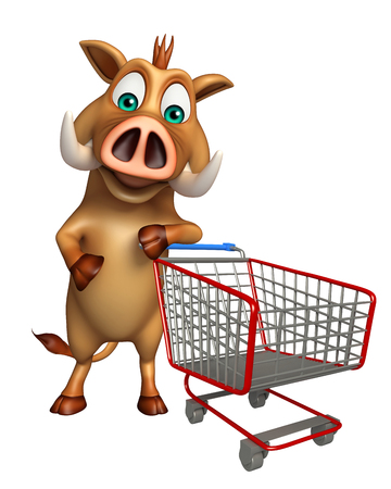 trolly: 3d rendered illustration of Boar cartoon character with trolly
