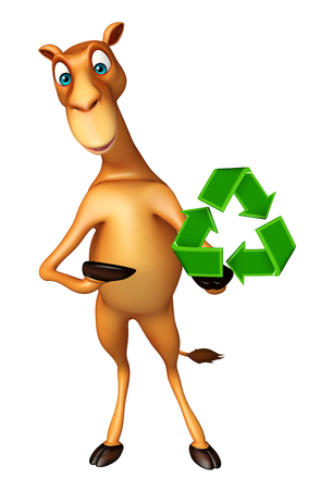 zoo dry: 3d rendered illustration of Camel cartoon character with recycle sign Stock Photo