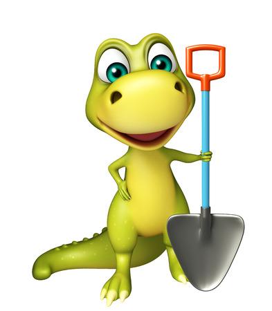 lizard in field: 3d rindió la ilustración de personaje de dibujos animados del dinosaurio con la pala de excavación