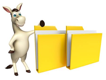 cuteness: 3d rendered illustration of Donkey cartoon character with folder