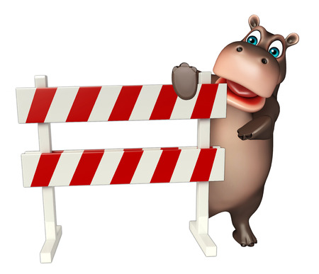 zoo traffic: 3d rendered illustration of Hippo cartoon character with baracade
