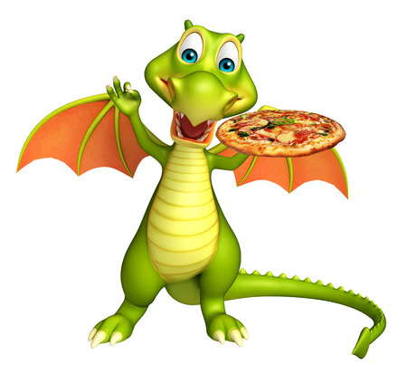 directly: 3d rendered illustration of Dragon cartoon character with pizza