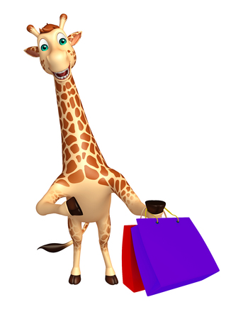tall grass: 3d rendered illustration of Giraffe cartoon character with shopping bag Stock Photo