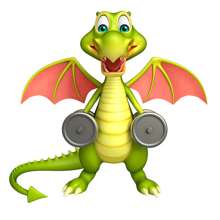 gym equipment: 3d rendered illustration of Dragon cartoon character with Gym equipment