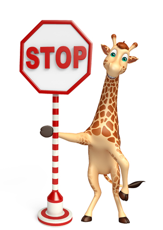 tall grass: 3d rendered illustration of Giraffe cartoon character with stop sign Stock Photo