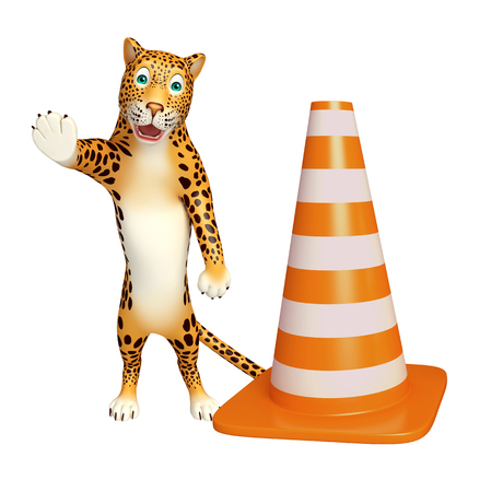 non marking: 3d rendered illustration of Leopard cartoon character with construction cone