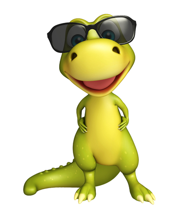 protective eyewear: 3d rendered illustration of Dinosaur cartoon character with sunglass