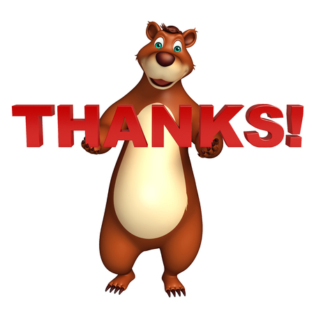 plushy: 3d rendered illustration of Bear cartoon character with thanks sign