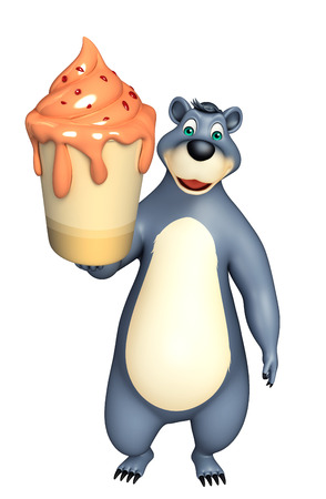 plushy: 3d rendered illustration of Bear cartoon character with ice cream