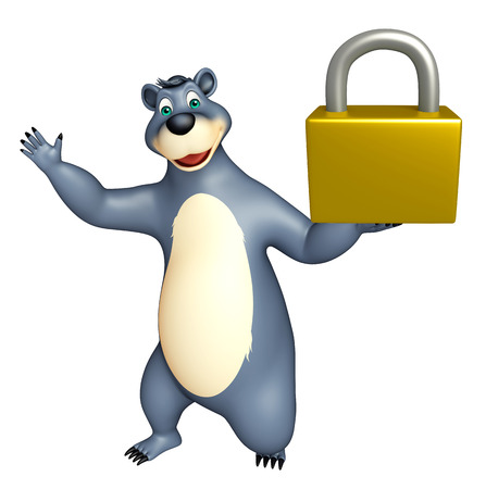 plushy: 3d rendered illustration of Bear cartoon character with lock