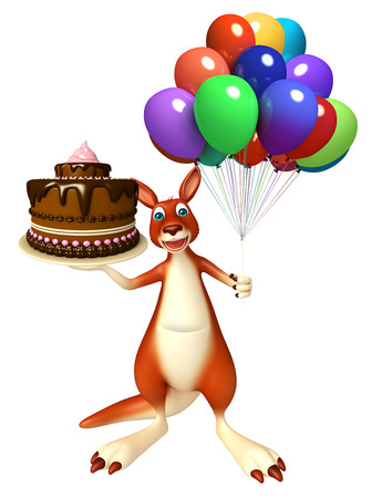 baloon: 3d rendered illustration of Kangaroo cartoon character  with cake  and baloon Stock Photo