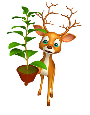 chlorophyll: 3d rendered illustration of Deer cartoon character with plant