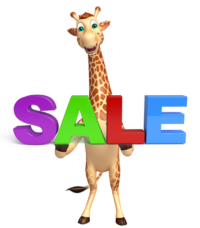tall grass: 3d rendered illustration of Giraffe cartoon character with sale sign