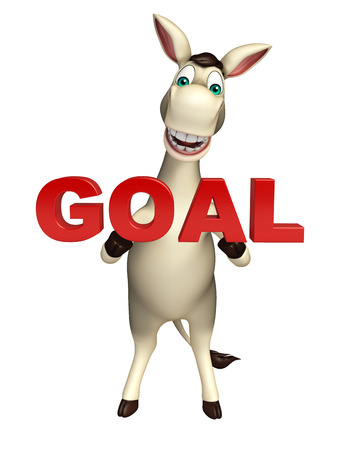 cuteness: 3d rendered illustration of Donkey cartoon character with goal sign