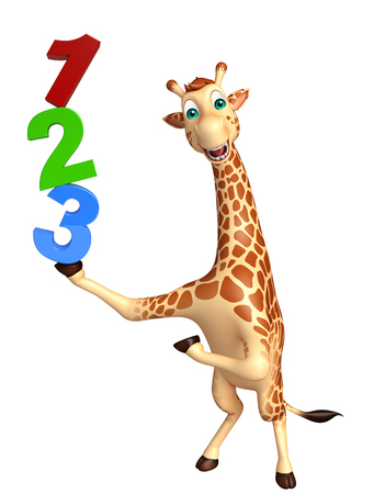 kiddie: 3d rendered illustration of Giraffe cartoon character with 123 sign