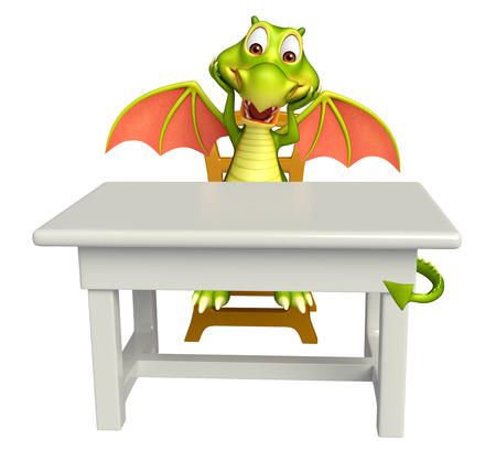 3d rindió la ilustración de personaje de dibujos animados dragón con mesa y silla Foto de archivo - 54114150