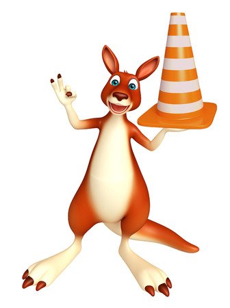 zoo traffic: 3d rendered illustration of Kangaroo cartoon character with construction cone
