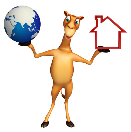 zoo dry: 3d rendered illustration of Camel cartoon character with home sign and earth
