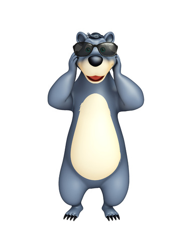 plushy: 3d rendered illustration of Bear cartoon character with sunglass