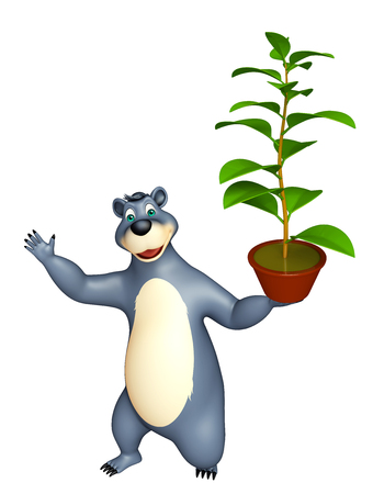 plushy: 3d rendered illustration of Bear cartoon character with plant