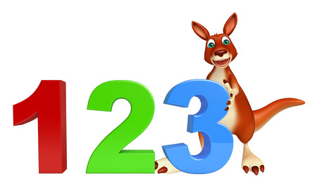 kiddie: 3d rendered illustration of Kangaroo cartoon character with 123 sign