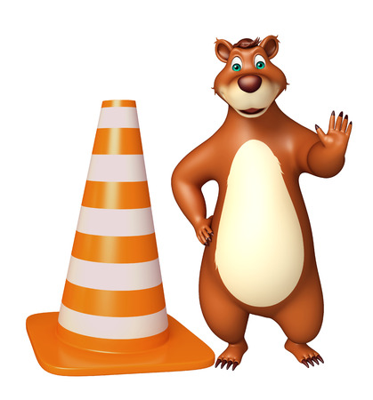 zoo traffic: 3d rendered illustration of Bear cartoon character with construstion cone Stock Photo