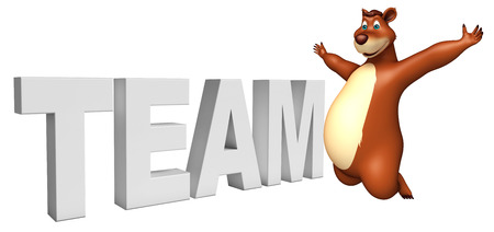 plushy: 3d rendered illustration of Bear cartoon character with team sign Stock Photo