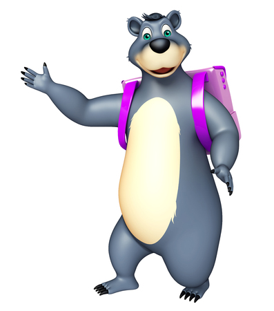 plushy: 3d rendered illustration of Bear cartoon character with school bag
