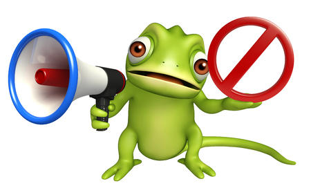 zoo traffic: 3d rendered illustration of Chameleon cartoon character with  loudspeaker and stop sign