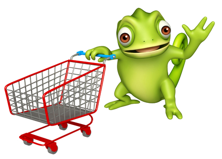 trolly: 3d rendered illustration of Chameleon cartoon character with trolly Stock Photo