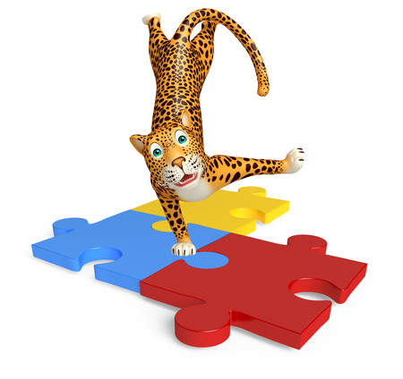 jig saw puzzle: 3d rendered illustration of Leopard cartoon character with puzzle Stock Photo