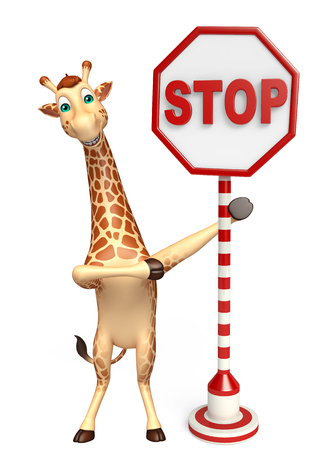 zoo traffic: 3d rendered illustration of Giraffe cartoon character with stop sign Stock Photo
