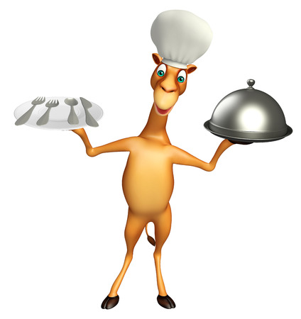 zoo dry: 3d rendered illustration of Camel cartoon character with dinner plate , cloche and chef hat