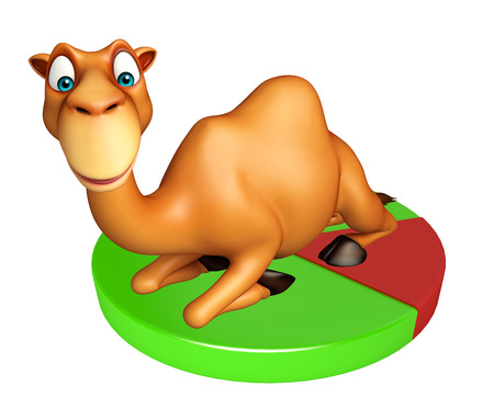 camel in desert: 3d rendered illustration of Camel cartoon character with circle sign