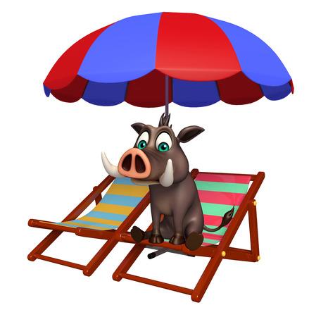 Strandkorb comic  3d übertrug Abbildung Boar Cartoon-Figur Mit Strandkorb Lizenzfreie ...