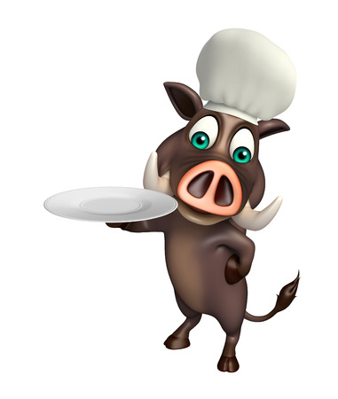 flesh eating animal: 3d rendered illustration of Boar cartoon character with dinner plate