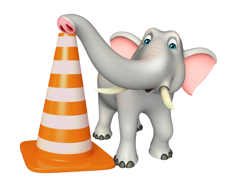 zoo traffic: 3d rendered illustration of Elephant cartoon character with construction cone