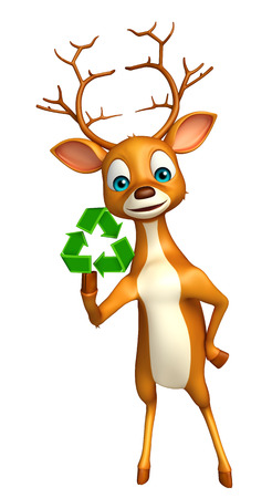 wildlife conservation: 3d rendered illustration of Deer cartoon character with recycle sign
