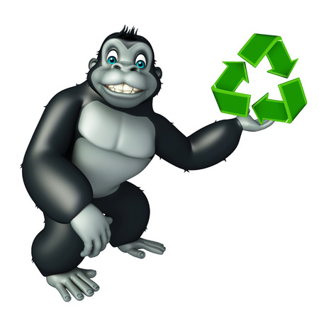wildlife conservation: 3d rendered illustration of Gorilla cartoon character with recycle sign Stock Photo