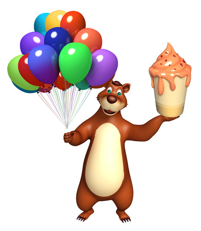cream filled: 3d rendered illustration of Bear cartoon character with balloon and ice cream