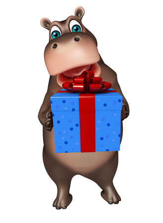 giftbox: 3d rendered illustration of Hippo cartoon character with giftbox Stock Photo