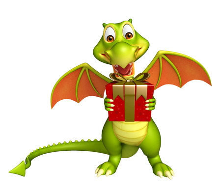 3d dragon: 3d rendered illustration of Dragon cartoon character with gift box